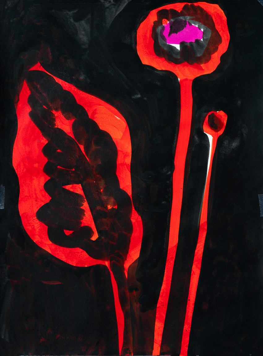 Painting with red flowers on a black background by artist Christina Zimpel.