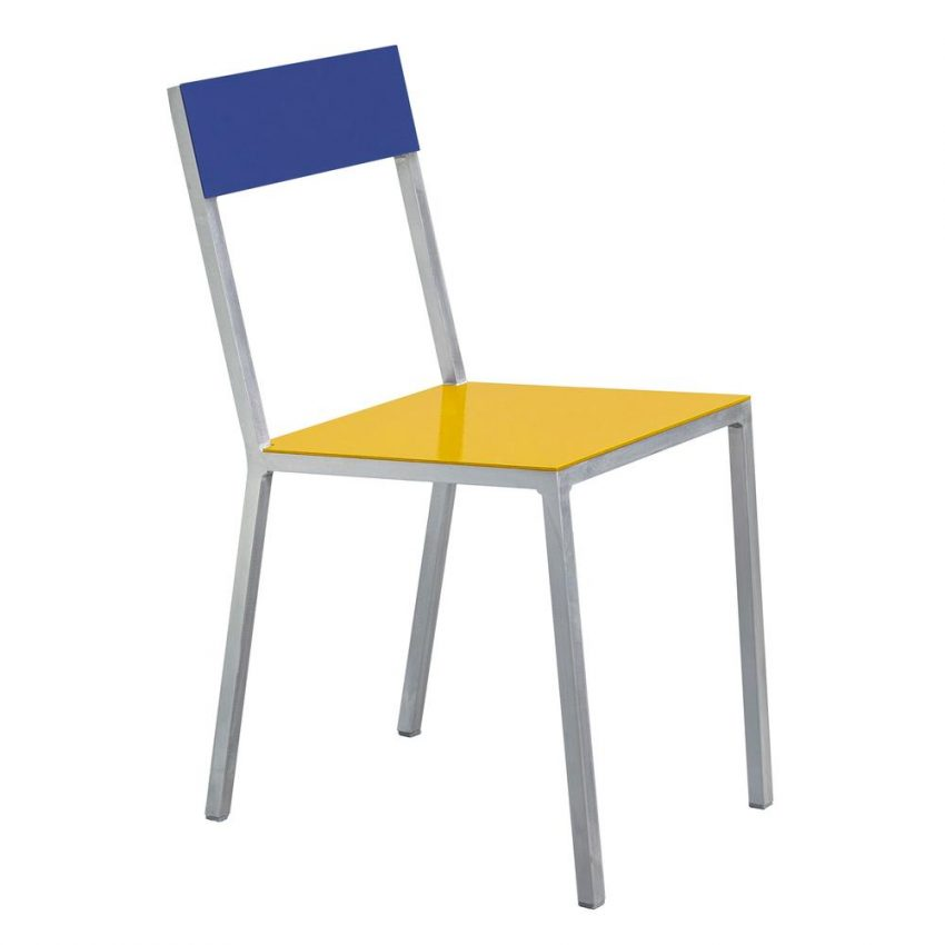 Blue and yellow designer chair.